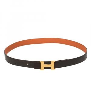 حزام هيرمس ذو وجهين ميني كونستانس جلد توغو وجلد عجل برتقالي/ كاكاو 90 سم