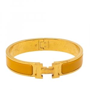 Hermès Clic H Yellow Enamel Gold Plated Narrow Bracelet PM