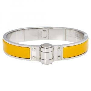 Hermes Charniere Uni Palladium Plated Yellow Enamel Hinged Bracelet