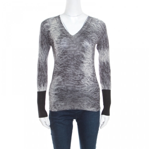 Hermes Grey Tie Dye Effect Wool V Neck Sweater S - used
