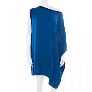Hermes Vintage Blue Silk and Cashmere Paneled Asymmetric Sleeve Mini Dress M