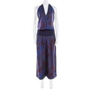 Hermes Dark Blue Pavois Flag Print Silk Halter Top and Trousers Set M