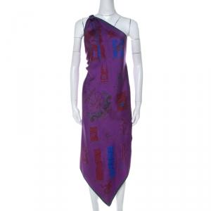 Hermes Purple Flag Print Silk One Shoulder Pavois Scarf Maxi Dress M