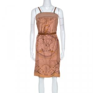 Hermes Terracotta Orange Silk Detachable Strap Detail Fauna Dress S