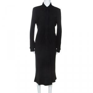 Hermes Black Silk Long Sleeve Collared Dress L