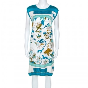 Hermes Blue Zodiac Printed Silk And Knit Sleeveless Dress L