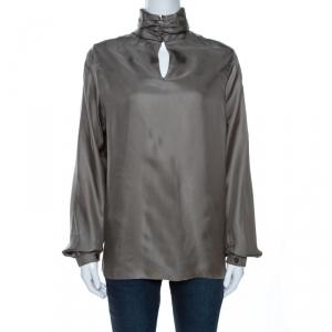 Hermes Grey Printed Silk High Neck Blouse M