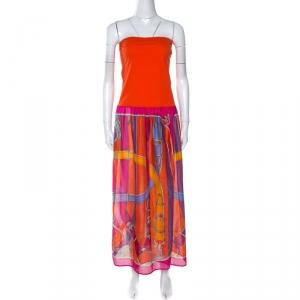 Hermes Orange Printed Strapless Dress L