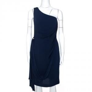 Hermes Navy Blue Silk One Shoulder Draped Dress S