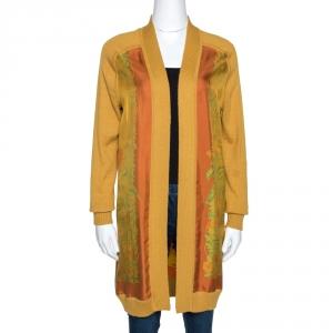Hermes Mustard Silk and Knit Trim Jungle Print Long Cardigan S