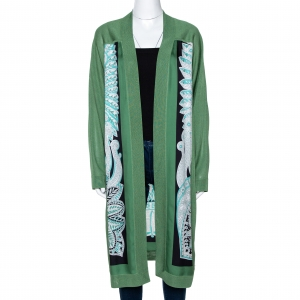 Hermes Green Printed Silk & Knit Open Front Cardigan M