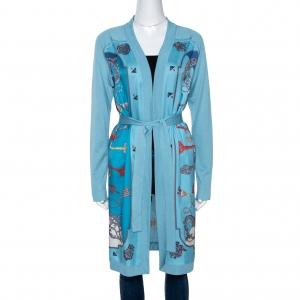 Hermes Blue Les Cles Print Silk & Knit Belted Cardigan M