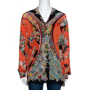 Hermes Orange Cirque Molier Print Silk Crepe Shirt L