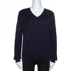 Hermès Dark Blue Ribbed Wool Knit Voyage Sweater S - used