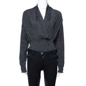 Hermes Grey Printed Silk Jersey Plunge Neck Bodysuit M