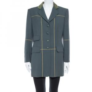 Hermes Uniform Green Wool & Velvet Collar Detail Knee Length Vintage Coat L