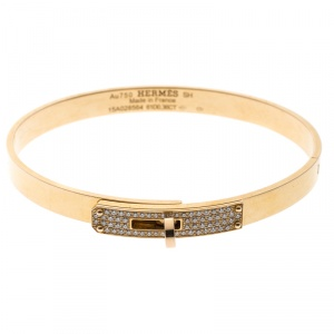 Hermes Kelly Small Model Diamond Yellow Gold Bangle Bracelet SH