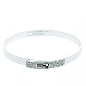 Hermes Kelly Diamond & 18k White Gold Small Narrow Bracelet
