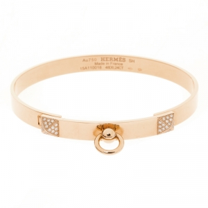 Hermès Collier de Chien Diamond 18K Rose Gold Bracelet SH