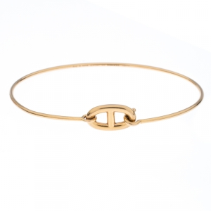 Hermes Chain d'Ancre Ronde 18k Yellow Gold Hook Bracelet SH