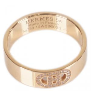 Hermes 18K Pink Gold Diamond Chaine d'Ancre Ring Size 54