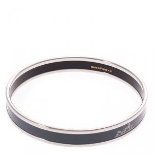 Hermes Dark Grey Silver Cloisonne Logo Bangle