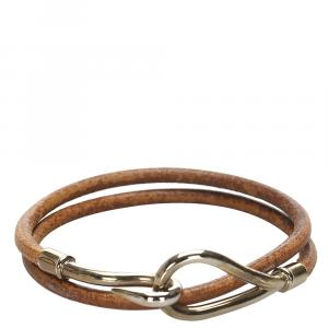 Hermes Brown Jumbo Hook Leather Bracelet