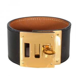 Hermes 18K Yellow Gold-plated Leather Kelly Dog Bracelet
