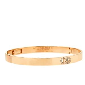 Hermes H Chaine d'Ancre Diamond 18K Rose Gold Bracelet SH