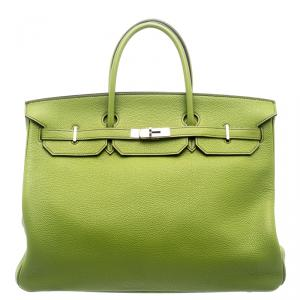 Hermes Pistacio Green Togo Leather Palladium Hardware Birkin 40 Bag