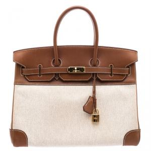 Hermes Brown/Beige Canvas And Box Calf Leather Gold Hardware Birkin 35 Bag