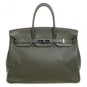 Hermes Olive Green Togo Leather Palladium Hardware Birkin 35 Bag