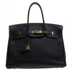 Hermes Black Togo Leather Gold Hardware Birkin 35 Bag