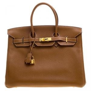 Hermes Gold Togo Leather Gold Hardware Birkin 35 Bag