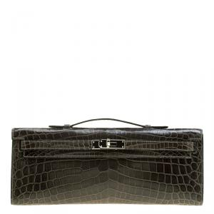 Hermes Olive Green Niloticus Crocodile Kelly Cut Clutch