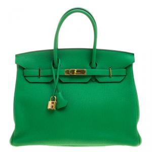 Hermes Bambou Clemence Leather Gold Hardware Birkin 35 Bag