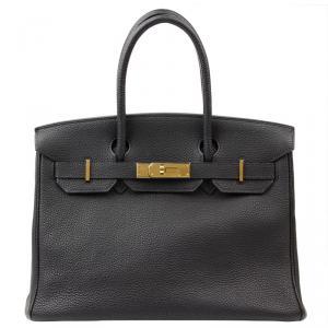 Hermes Noir Taurillon Clemence Leather Gold Hardware Birkin 30 Bag