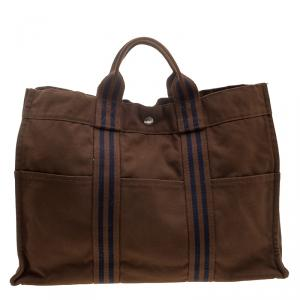 Hermes Brown Canvas Fourre Tout Tote
