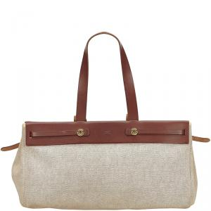 Hermes Beige/Brown Canvas Leather Herbag Cabas MM Bag