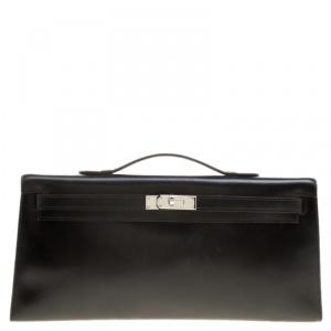حقيبة كلتش هيرمس لونغ كيلي إكسسوار بلاديوم جلد عجل صندوقية سوداء 34 سم