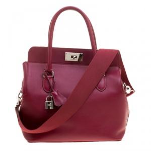 Hermes Ruby Swift Leather Palladium Hardware Toolbox 26 Bag