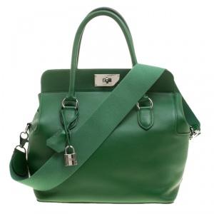 Hermes Green Swift Leather Palladium Hardware Toolbox 26 Bag