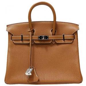 Hermes Gold Togo Leather Palladium Hardware Birkin 25 Bag