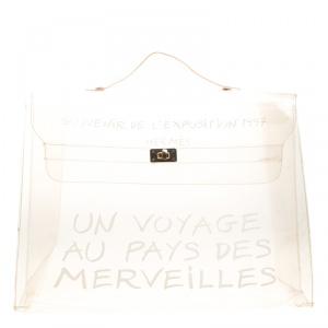 حقيبة هيرمس كيلي سوفنير فينيل شفافه