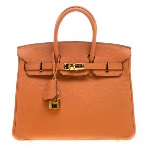 Hermes Orange Togo Leather Gold Hardware Birkin 25 Bag