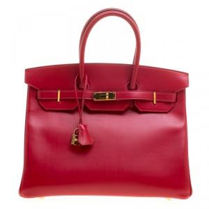 Hermes Red Box Calf Leather Gold Hardware Birkin 35 Bag