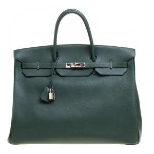 Hermes Vert Fonce Fjord Leather Palladium Hardware Birkin 40 Bag