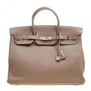 Hermes Etoupe Taurillon Clemence Leather Palladium Hardware Birkin 40 Bag