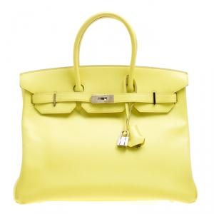 Hermes Soufre Epsom Leather Palladium Hardware Birkin 35 Bag
