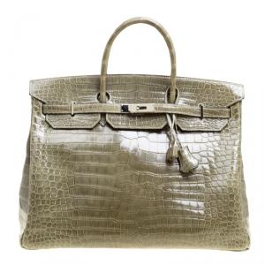 Hermes Olive Green Porosus Crocodile Palladium Hardware Birkin 40 Bag